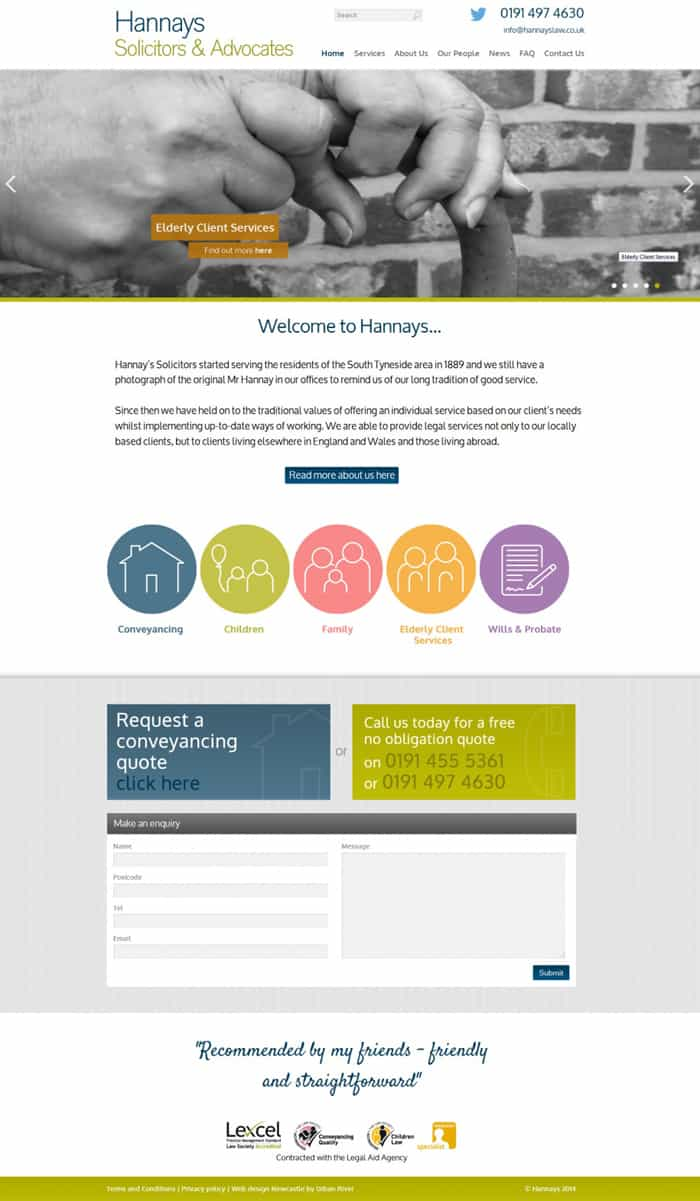 Hannays Solicitors and Advocates home page