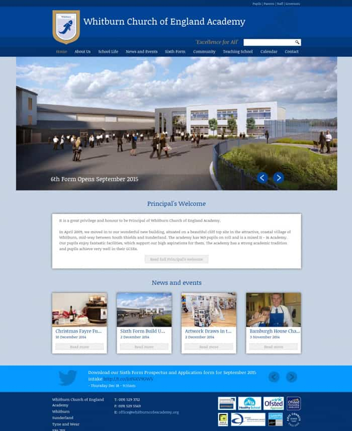 Whitburn Church of England Academy home page