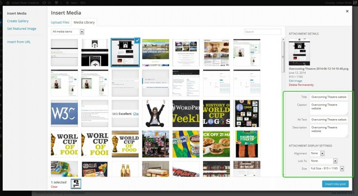 Where to find the image descriptions and positioning in WordPress
