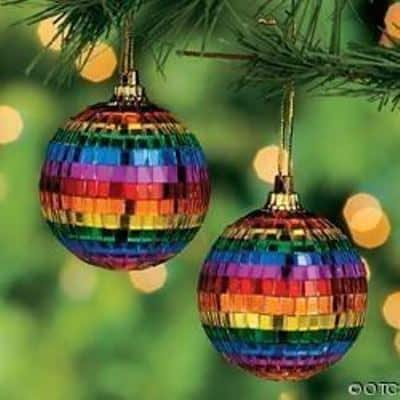 Rainbow baubles for a disco diva.