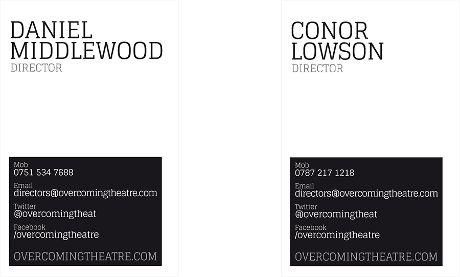 Overcoming Theatre business cards