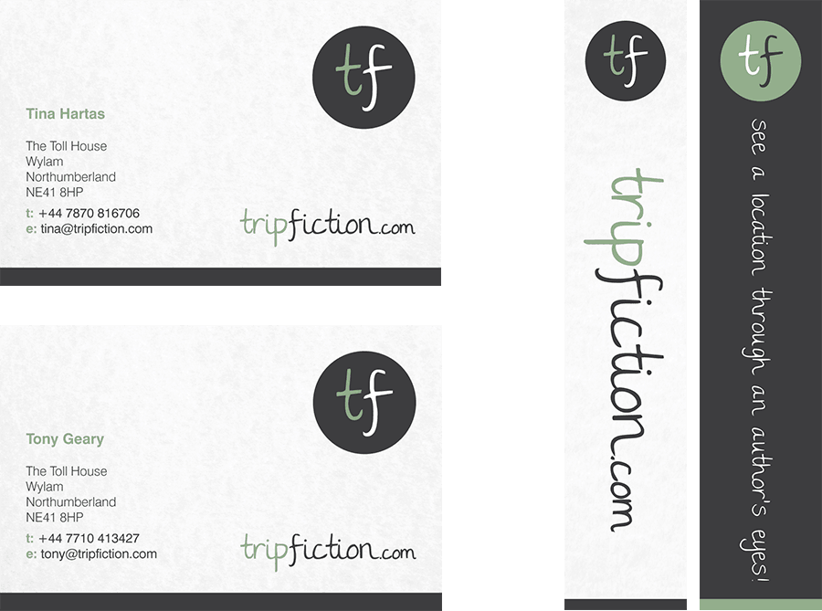 TripFiction business cards and bookmarks