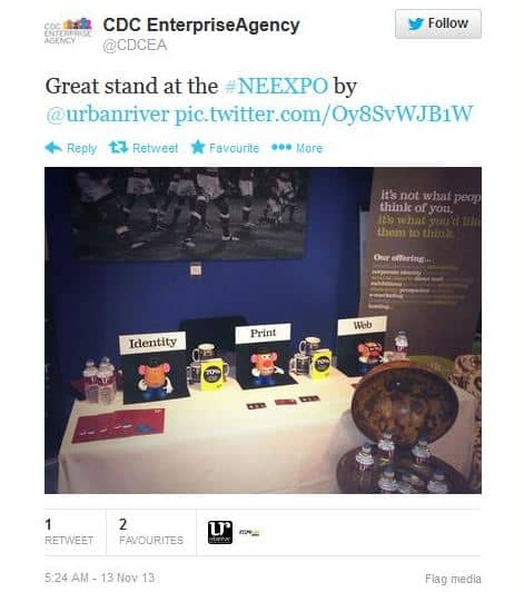 Positive tweets about our exhibition display.