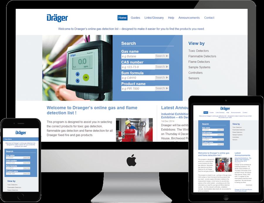 Draeger on desktop, tablet and mobile