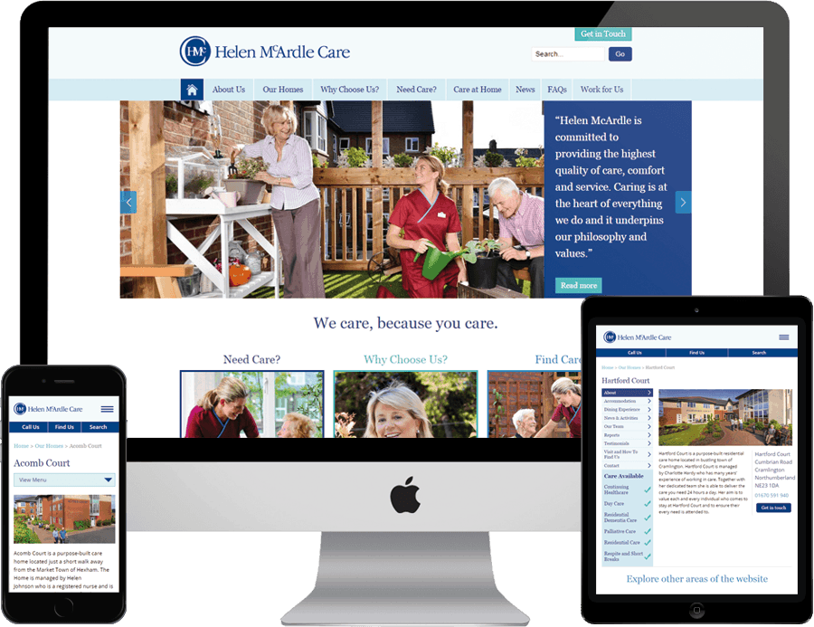 Helen McArdle Care on desktop, tablet and mobile