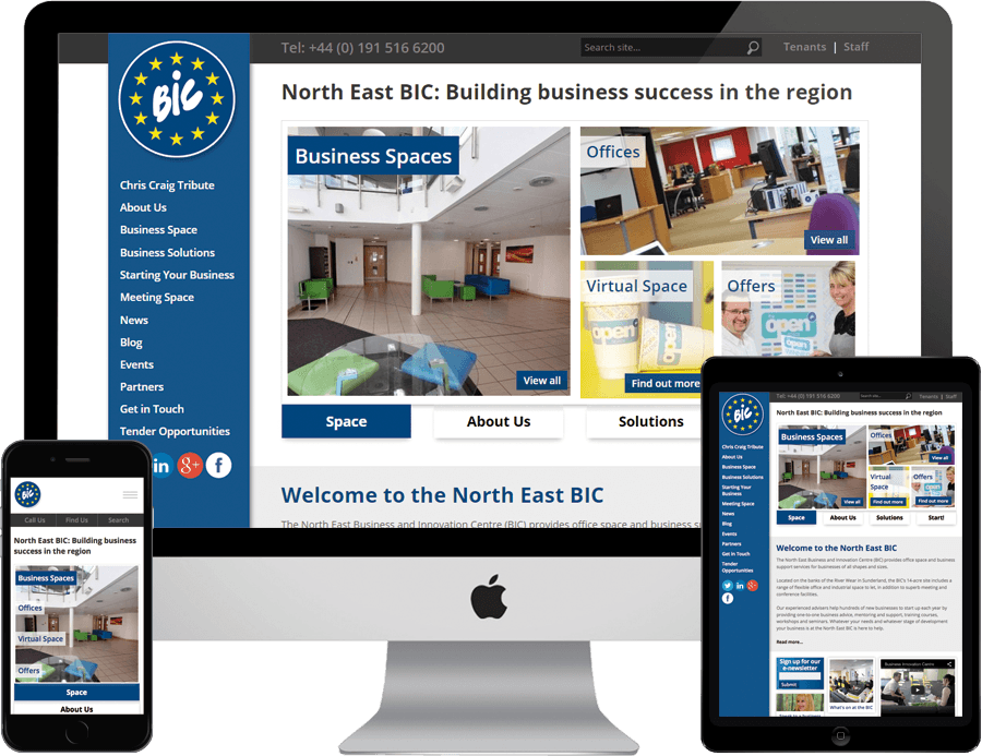 North East BIC on desktop, tablet and mobile