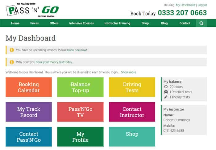 A snapshot of the customer dashboard on Pass'N'Go's new system