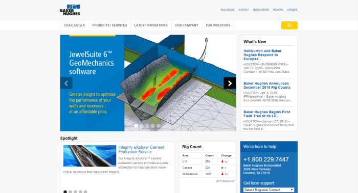 Baker Hughes Engineering Website