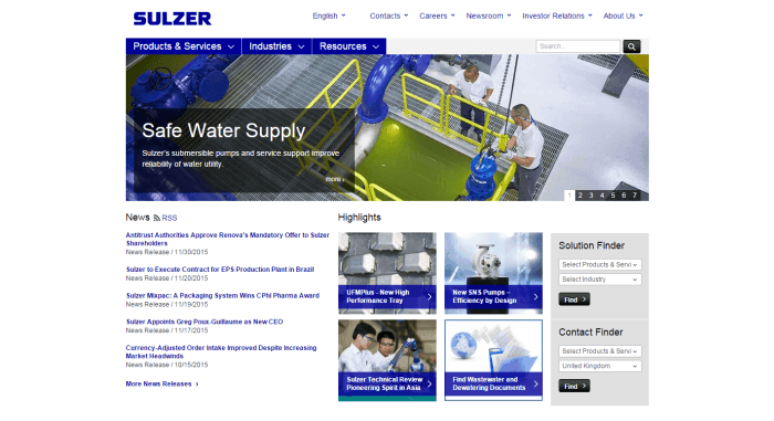 Sulzer Engineering Website