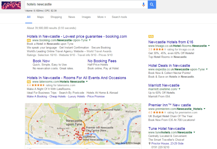 AdWords Search for Hotels