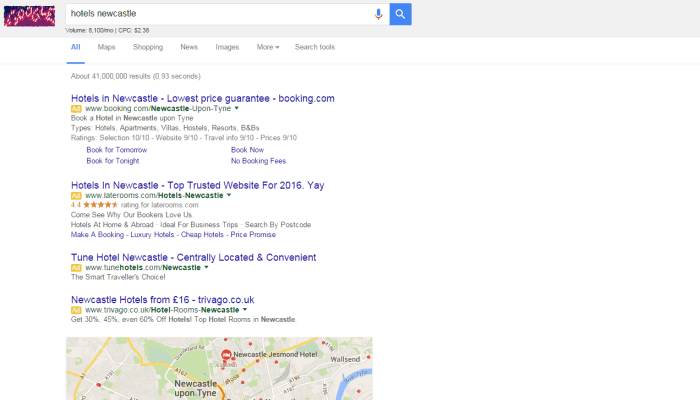 AdWords search for Hotels no sidebar